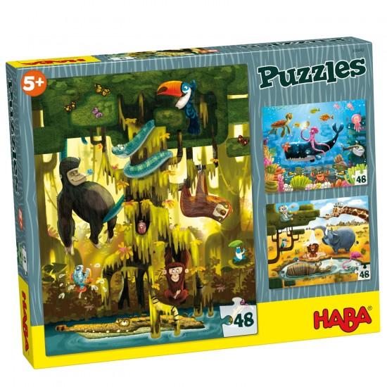Puzzle 3 x 48 pièces : Animaux du Monde - Haba-300492