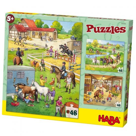 Puzzle 3 x 48 pièces : Le Centre Equestre - Haba-300494