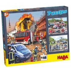 Puzzle 3 x 48 pièces : Véhicules d'intervention