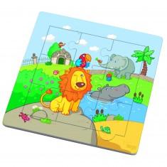 Puzzle cadre 9 pièces : Les amis du lion