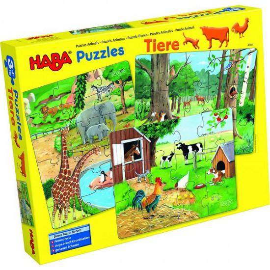 Puzzles 12 à 18 pièces : 3 puzzles : Les animaux - Haba-4960