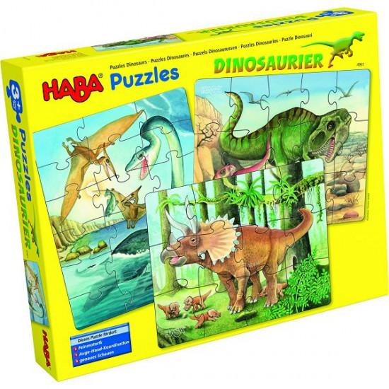 Puzzles 12 à 18 pièces : 3 puzzles dinosaures - Haba-5982-4961