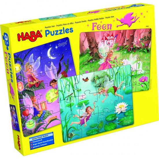 Puzzles 12 à 18 pièces : 3 puzzles Fées et elfes - Haba-5983-4962