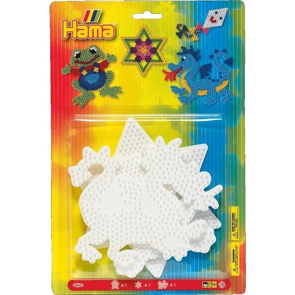 Plaques pour perles à repasser Hama Midi : Grenouille/Etoile/Dragon - Hama-4555