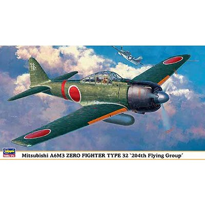 Maquette avion : Mitsubishi A6M3 Zer Fighter Type 32 204th Flying Group - Hasegawa-09828