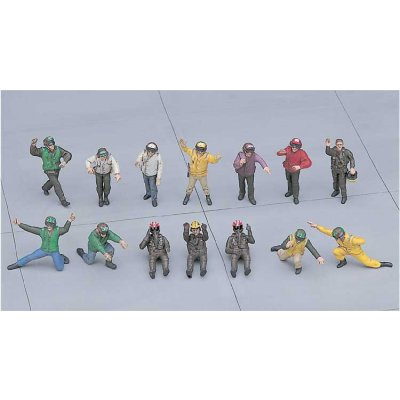 Figurines militaires: Pilotes Navy et équipe de pont: Set A - Hasegawa-36006