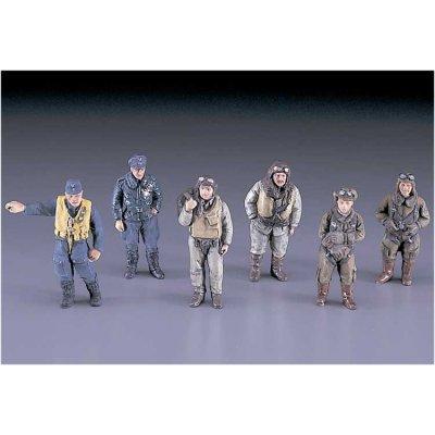 Figurines 2ème Guerre Mondiale : Pilotes japonais, allemands, américains et anglais: 1/48 - Hasegawa-36007