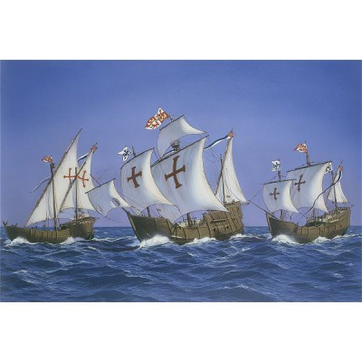 Maquettes bateaux: Caravelles de Christophe Colomb: Kit 3 maquettes avec accessoires - Heller-52910