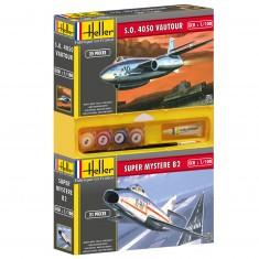 Lot de 2 maquettes : Avion S.O 4050 Vautour + Avion Super Mystère B2