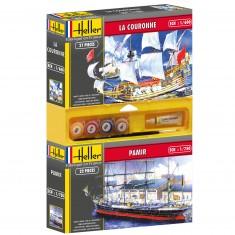 Lot de 2 maquettes : Bateau Pamir + Bateau La Couronne