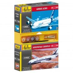 Lot de 2 maquettes : Caravelle + Airbus 380