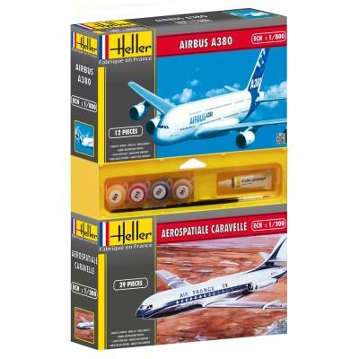 Lot de 2 maquettes : Caravelle + Airbus 380 - Heller-49105