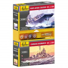 Lot de 2 maquettes : Cuirasse Bismarck + Porte-avion Colossus