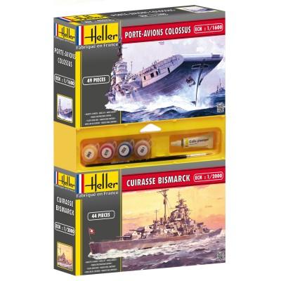 Lot de 2 maquettes : Cuirasse Bismarck + Porte-avion Colossus - Heller-49106