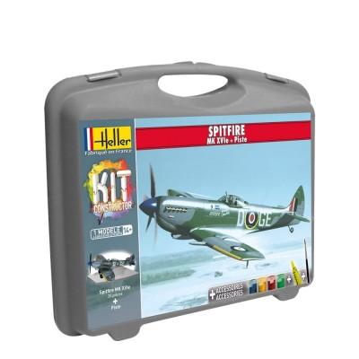Maquette avion : Mallette Spitfire Mk XVIe et piste - Heller-60282