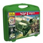 Maquettes 2ème guerre mondiale : Véhicule Ton Truck et figurines d'Infanterie US