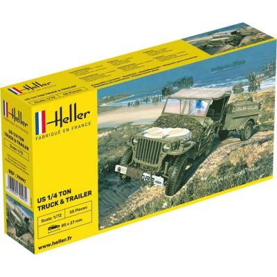 Maquette US 1/4 Ton Truck & Trailer - Heller-79997