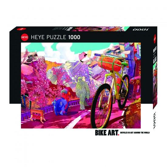 Puzzle 1000 pièces : Bike Art : Tour in Pink - Heye-29677-58313