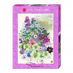 Puzzle 1000 pièces : Fleurs création rose
