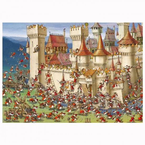 Puzzle 1000 pièces Francois Ruyer :  Bunnies vs. Wolves - Mercier-29633-58309