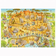 Puzzle 1000 pièces Funky Zoo : Marino Degano, Habitat africain