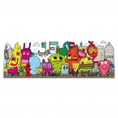 Puzzle 1000 pièces panoramique Jon Burgerman : In the city