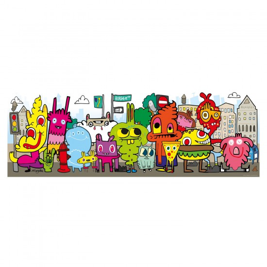 Puzzle 1000 pièces panoramique Jon Burgerman : In the city - Mercier-29601-58293