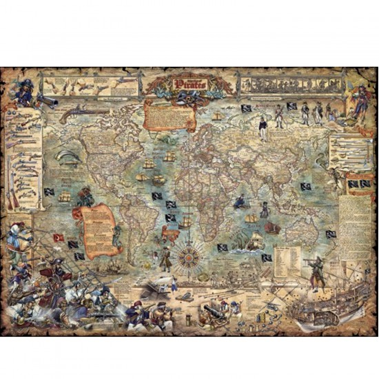 puzzle 3000 pi ces rajko zigic carte du monde pirate. Black Bedroom Furniture Sets. Home Design Ideas
