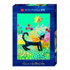 Puzzle 500 pièces : Chat Fleur, Rosina Wachtmeister