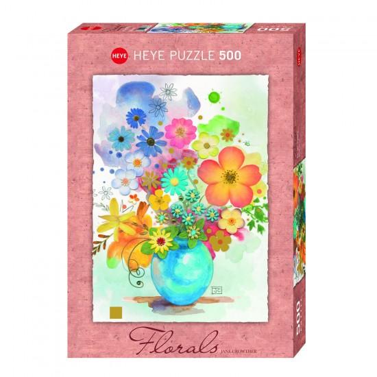 Puzzle 500 pièces : Fleurs vase bleu - Heye-29663-58315