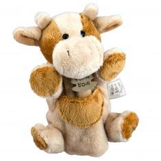 Marionnette peluche Vache marron et beige 25 cm