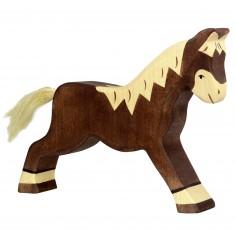 Figurine en bois Holztiger : Animaux de la Ferme : Cheval marchant