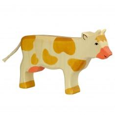 Figurine en bois Holztiger : Animaux de la Ferme : Vache marron