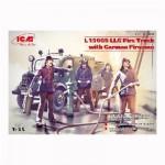Maquette camion de pompiers Allemand et 4 figurines : Ensemble L1500S LF 8