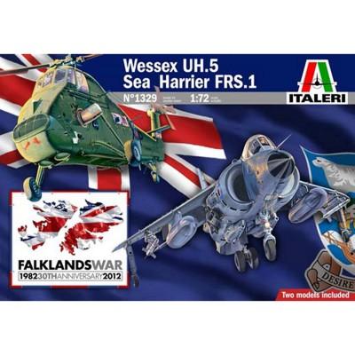 Maquette avion et hélicoptère : Coffret Malouines 1982-2012 Harrier GR.3 Falklands et Wessex UH-5 - Italeri-1329