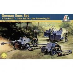 Maquettes canons allemands: Pak 37 / Pak 40 / Flakvierling 38 avec figurines