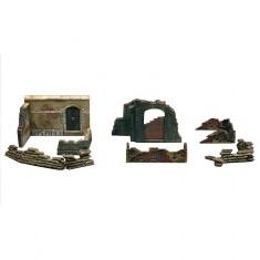Accessoires de décor de guerre 1/72 : Murs et ruines: Set 2
