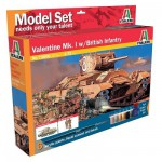 Maquette Char: Valentine et figurines infanterie britannique