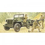 Maquette Jeep Willys avec remorque