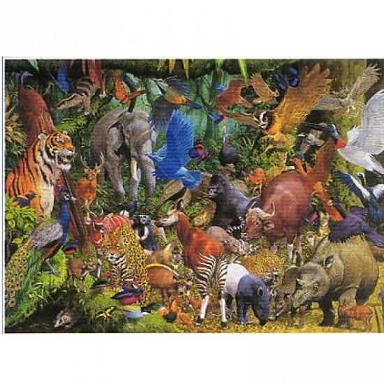 Puzzle 1000 pièces - Méli-mélo animaux de la jungle - Hamilton-MC3/1036