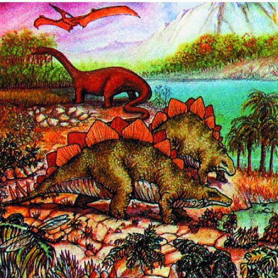 Puzzle 120 pièces carré - Dinosaures : Balade familiale - Hamilton-539-3