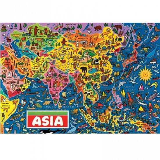 Puzzle 500 pièces - Carte d'Asie - Hamilton-1006