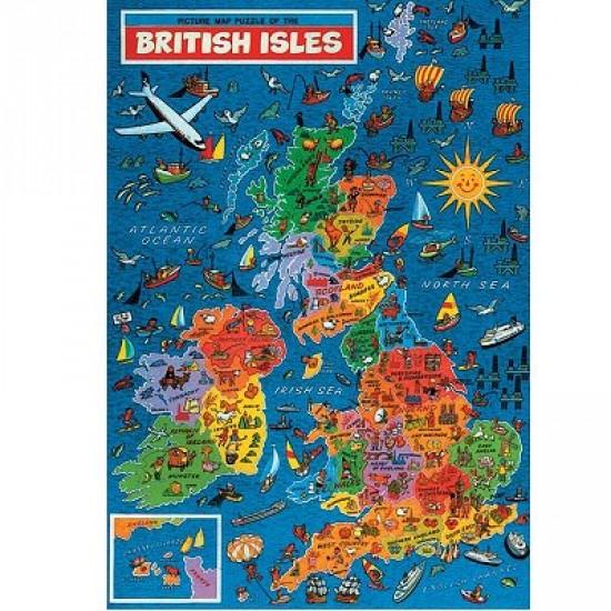 Puzzle 500 pièces - Carte de l'Ile Britannique - Hamilton-1001