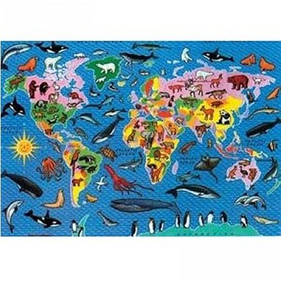 Puzzle 500 pièces - Carte des animaux du monde - Hamilton-1008