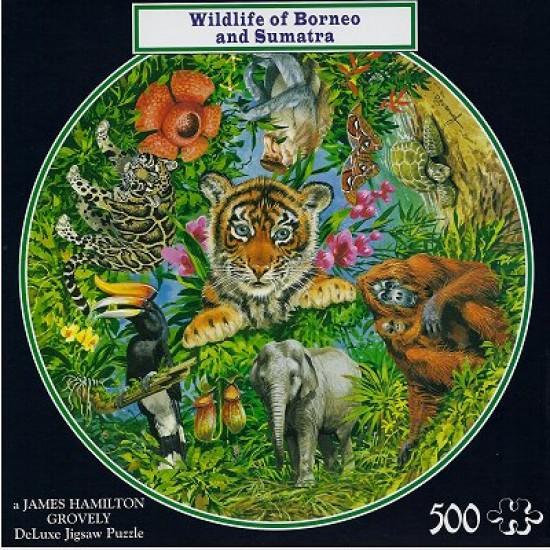 Puzzle 500 pièces rond - La faune de Bornéo et Sumatra - Hamilton-WB1/5015