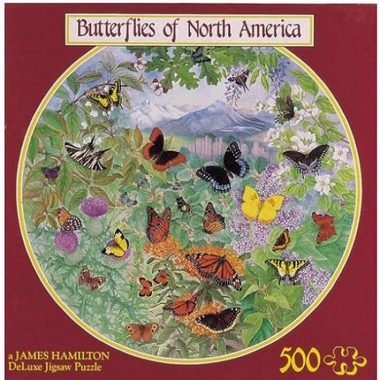 Puzzle 500 pièces rond - Papillons d'Amérique - Hamilton-BA4/0511
