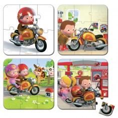 4 puzzles 6 à 16 pièces : La moto de Marco
