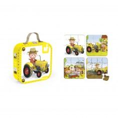 4 puzzles 6 à 16 pièces : Le tracteur de Peter