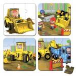 4 puzzles 6 à 16 pièces : Le tractopelle d'Axel