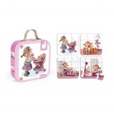 4 puzzles 6 à 16 pièces : Lilou joue à la poupée